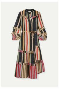 APIECE APART - Gracia Flamenca Striped Cotton And Lurex-blend Voile Midi Dress - Navy