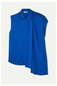 Balenciaga - Draped Asymmetric Floral-jacquard Blouse - Royal blue