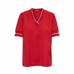 Short-Sleeved V-Neck Blouse