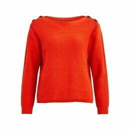 Boat Neck Jumper with Buttoned Shoulders