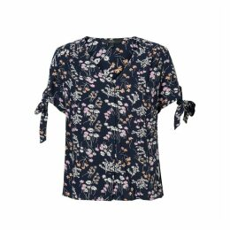 Lotus Floral Print Blouse with V-Neck and Short Sleeves