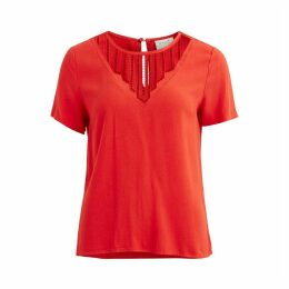 Vibeauty Lace Short-Sleeved V-Neck Blouse