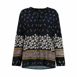 Floral Print Long-Sleeved Draping Blouse