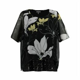Floral Print Round Neck Short-Sleeved Blouse