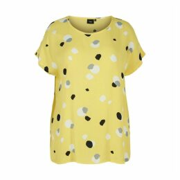 Graphic Print Round Neck Short-Sleeved  Blouse