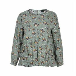 Floral Print Round Neck Long-Sleeved Blouse