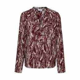 V-Neck Ruffle Blouse with Leaf Print