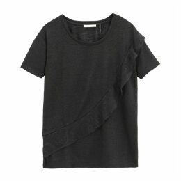 Ruffled Crew Neck T-Shirt