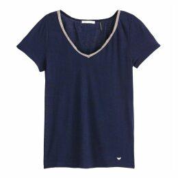 Metallic Trim V-Neck T-Shirt