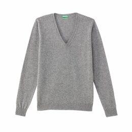 Fine Knit Wool V-Neck Jumper