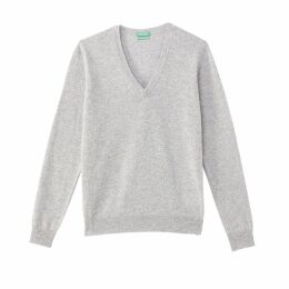 Fine Knit Wool V-Neck Jumper
