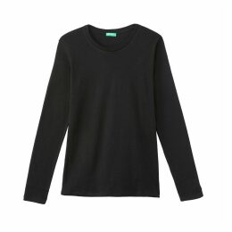 Cotton Crew Neck Long-Sleeved T-Shirt