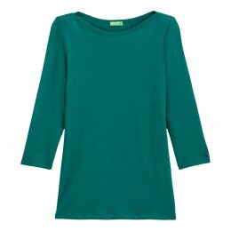 Cotton Crew-Neck T-Shirt with 3/4 Length Sleeves