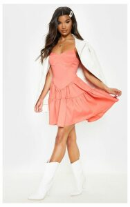 Peach Cup Detail Frill Hem Shift Dress, Orange