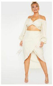 Plus Stone Woven Wrap Detail Midi Skirt, White