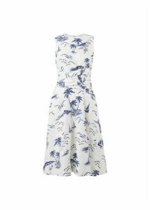 Twitchill Linen Dress Ivory Navy 18
