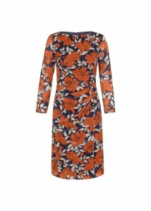 Sacha Silk Blend Dress Navy Orange 20