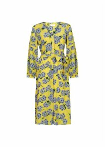 Cara Silk Dress Yellow Blue 16