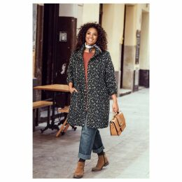 Buttoned Mid-Length Animal Print Coat