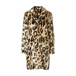 Straight Leopard Print Faux Fur Coat