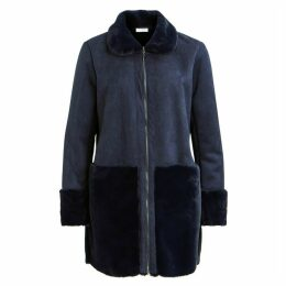 Straight Cut Coat with Patch Pockets and Faux Fur Collar