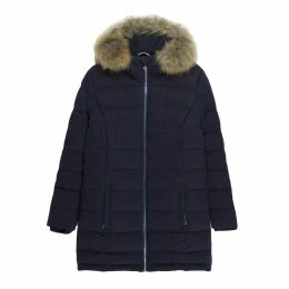 Mid-Length Fitted Padded Jacket with Hood