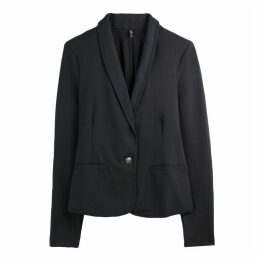 Single-Breasted Jersey Blazer with One Button Fastening