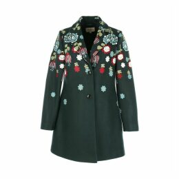 Mid-Length Coat with Floral Embroidery