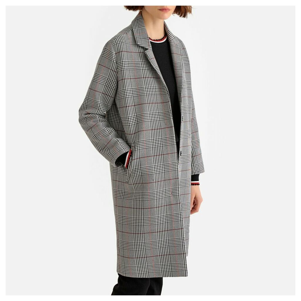 Checked Single-Breasted Boyfriend Coat with Pockets