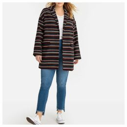 Striped Patterned Boyfriend Coat