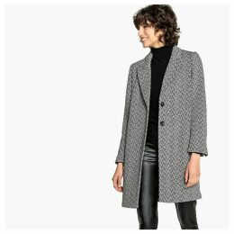 Wool Mix Houndstooth Check Single-Breasted Boyfriend Coat