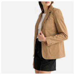 Cotton Single-Breasted Fitted Blazer