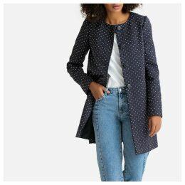 Polka Dot Print Mid-Length Coat
