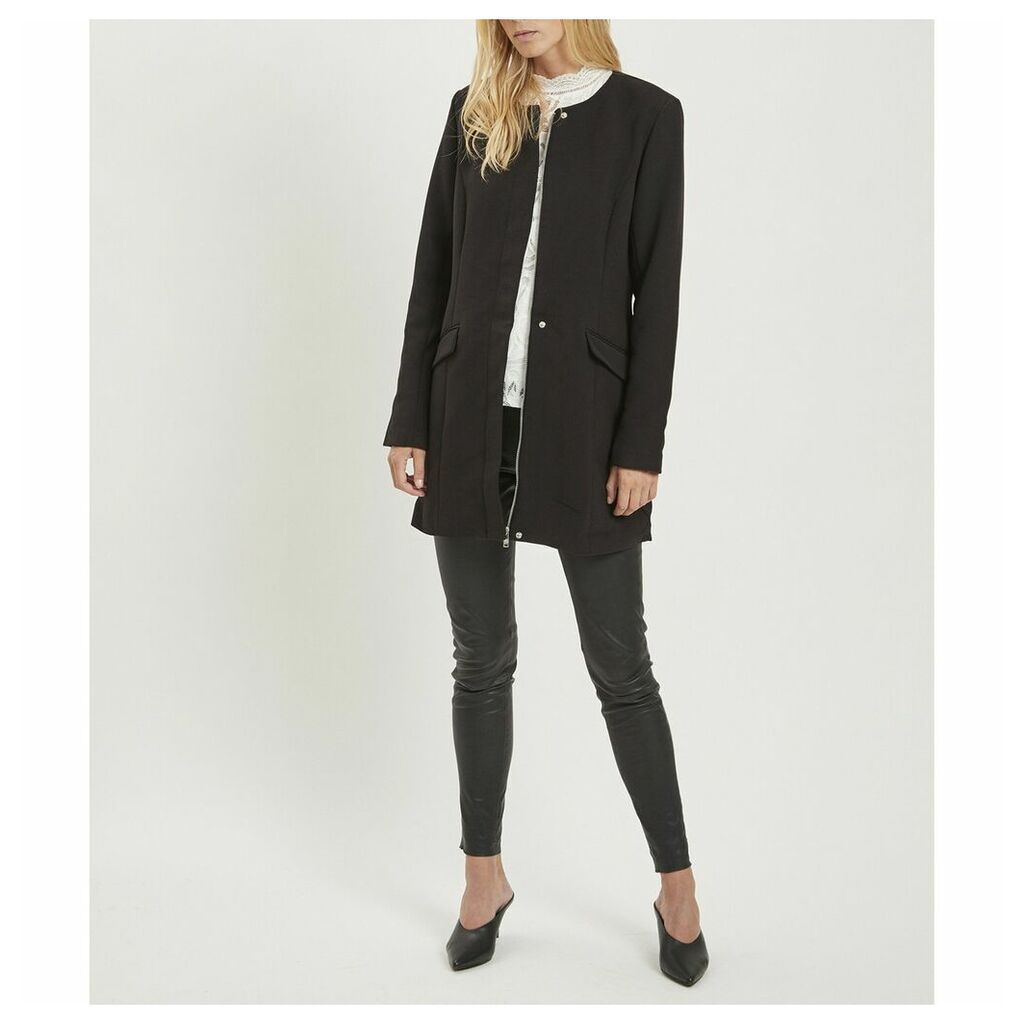 Straight Collarless Coat with Pockets
