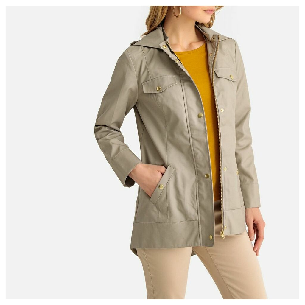 Short Cotton Hooded Parka with Pockets