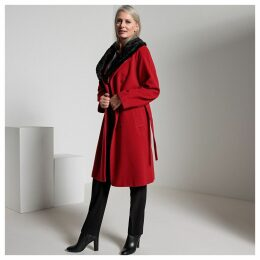 Wool Mix Coat with Detachable Faux Fur Collar