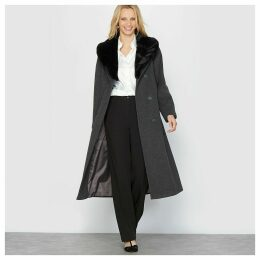 Wool Mix Coat with Removable Faux Fur Collar