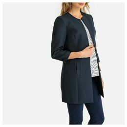 Straight Mid-Length Jacket with 3/4 Length Sleeves