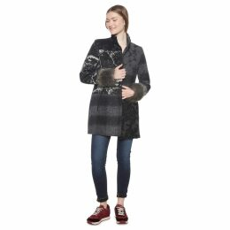 Wool Blend Patchwork Mid-Length Coat