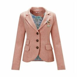 Fitted Single-Breasted Blazer with Cat Brooch