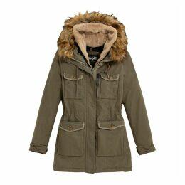 JKT HALLW Cotton Mix Parka with Faux Fur Hood