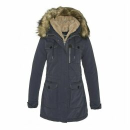 JKT HALLW Mid-Length Parka with Fur-Lined Hood