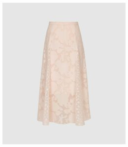 Reiss Chloe - Burnout Floral Midi Skirt in Pink, Womens, Size 14