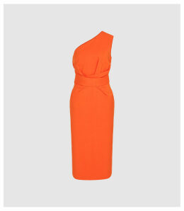 Reiss Laurent - One Shoulder Slim Fit Dress in Orange, Womens, Size 16