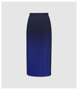 Reiss Marlie - Ombre Pleated Midi Skirt in Cobalt, Womens, Size 14