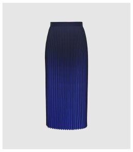 Reiss Marlie - Ombre Pleated Midi Skirt in Cobalt, Womens, Size 12