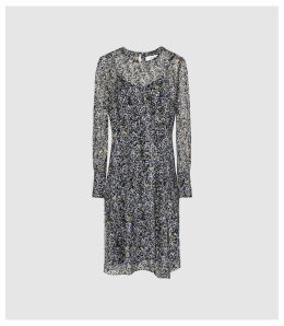 Reiss Charlotte - Ditsy Printed Dress in Blue, Womens, Size 16