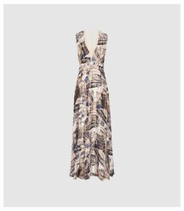Reiss Alix - Marble Printed Maxi Dress in Blue/ White, Womens, Size 16