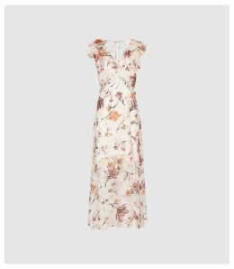 Reiss Leila - Burnout Floral Printed Maxi Dress in Pink, Womens, Size 16