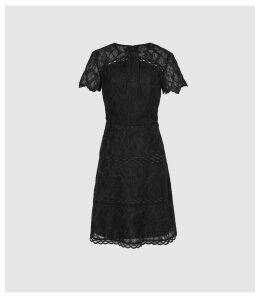 Reiss Czara - Lace Midi Dress in Black, Womens, Size 16